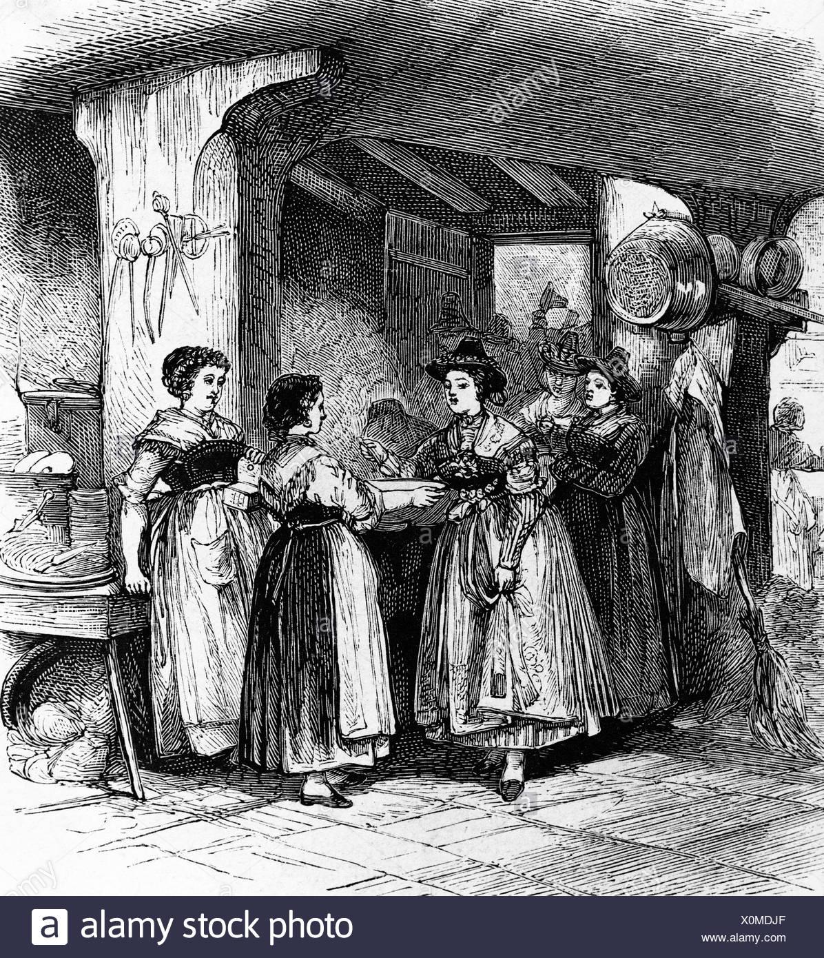 Salting of a soup, farmer's wedding in Lenggries, engraving, c. 1830, Upper Bavaria, Bavaria - Stock Image