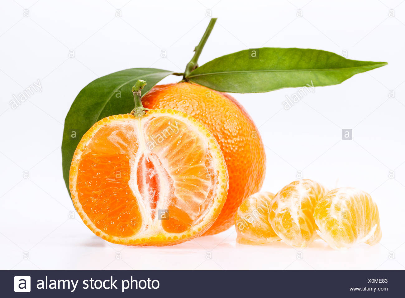 some fruits of clementine isolated on white background Stock Photo