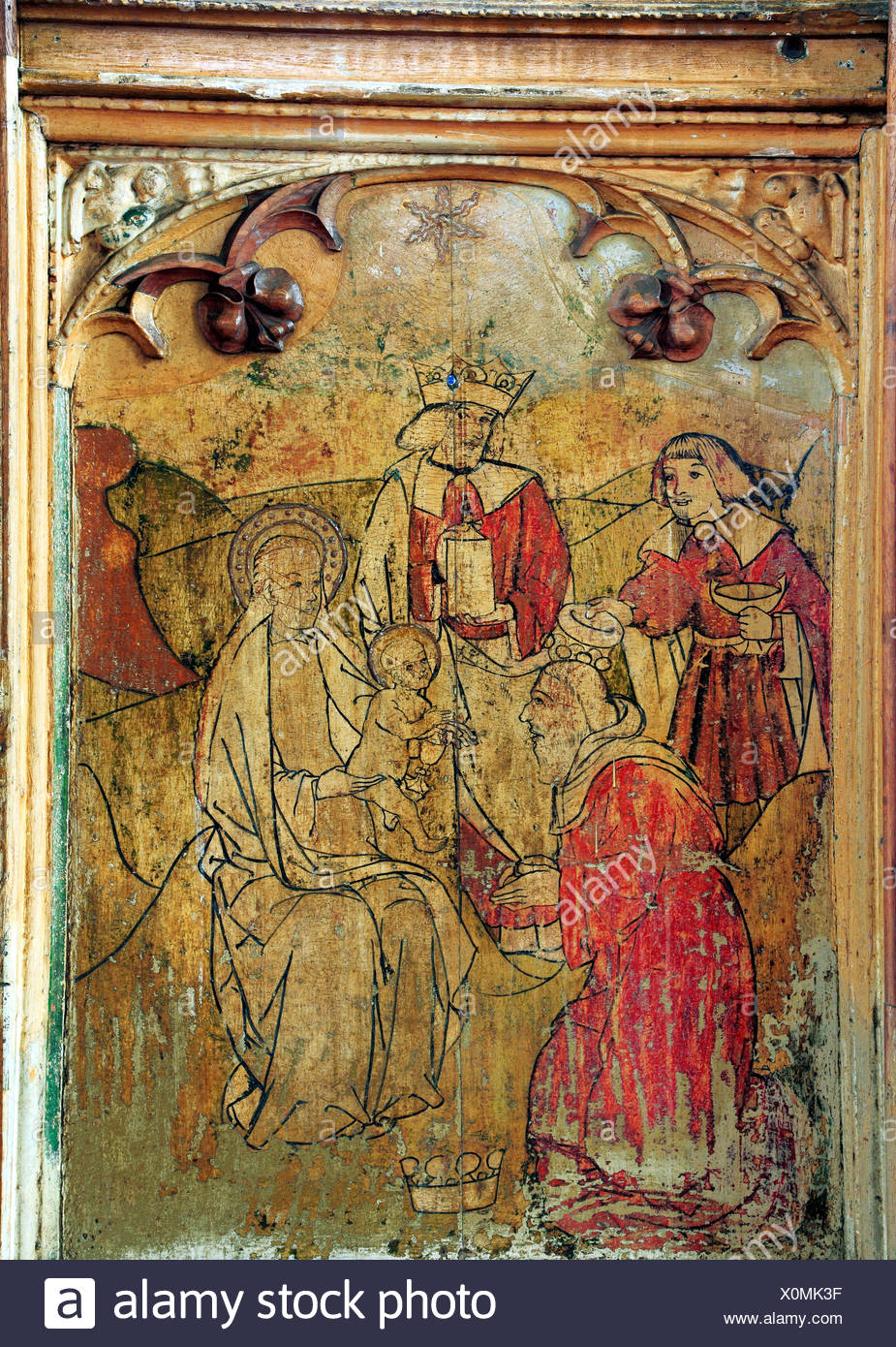 Adoration of the Magi, Three Wise Men, Loddon, Norfolk, medieval rood screen, gifts of gold, frankincense, myrrh, England UK - Stock Image