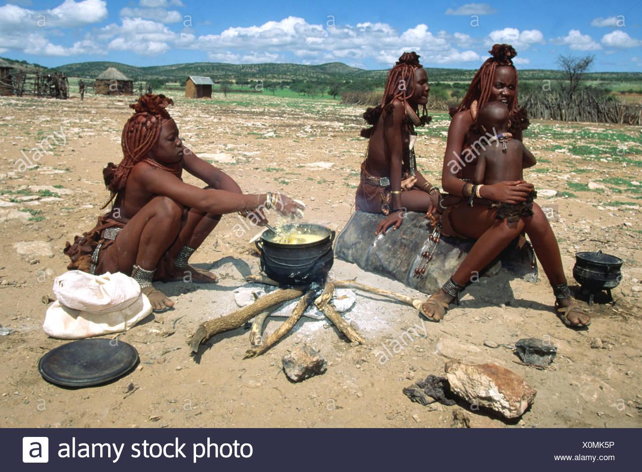 himba women, Namibia - Stock Image