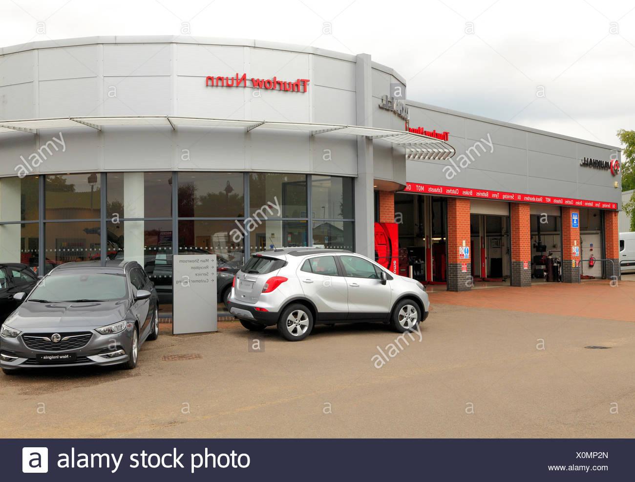 Thurlow Nunn, Fakenham, Norfolk, Vauxhall motor cars, vehicles, main dealer, dealers, dealership, dealerships, England, UK - Stock Image