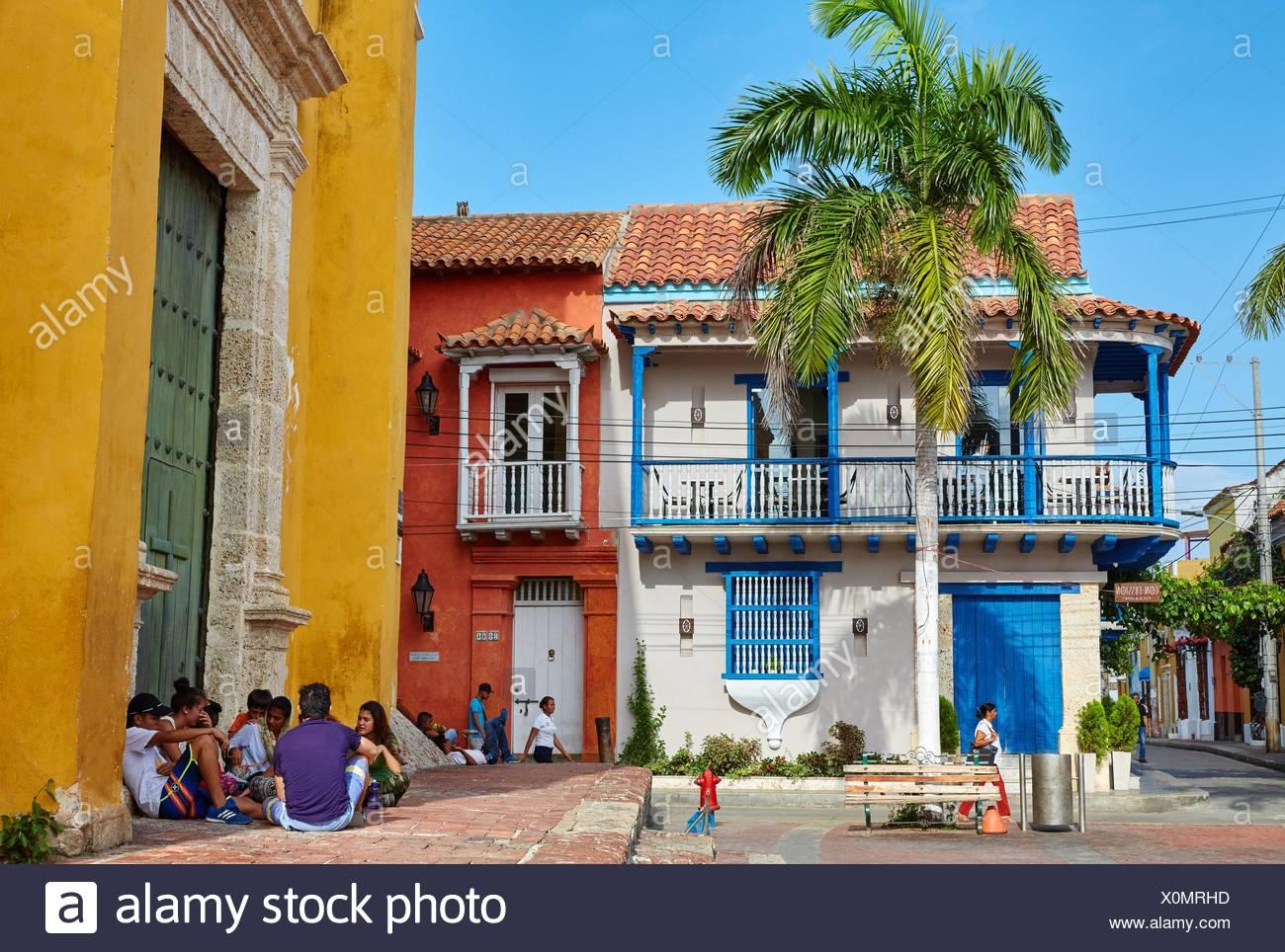 Plaza De La Trinidad Getsemani Cartagena De Indias Bolivar Colombia South America Stock Photo Alamy