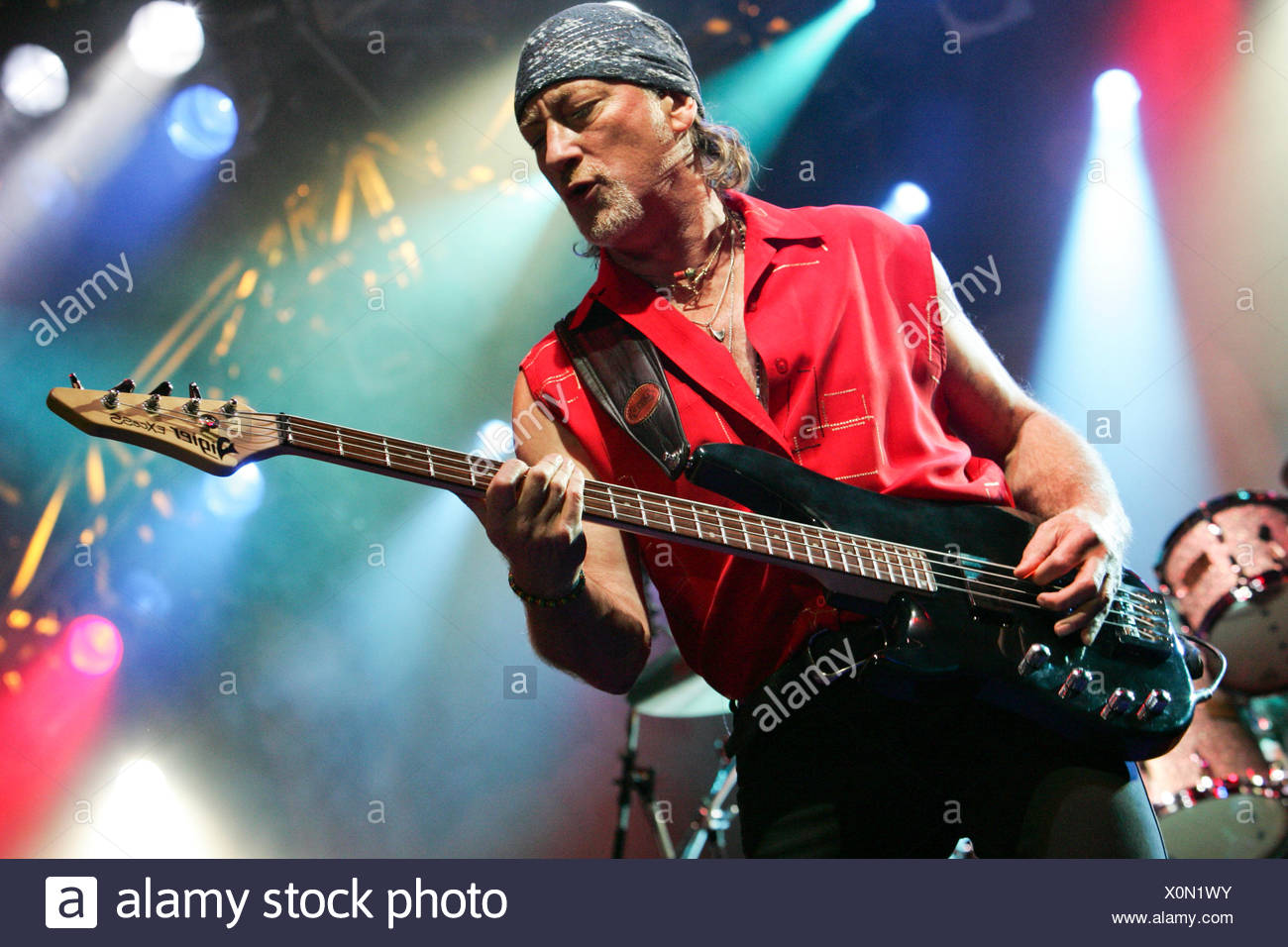 Roger Glover, bassist of the British rock band Deep Purple live at the Spirit of Music open air festival in Uster, Zurich - Stock Image