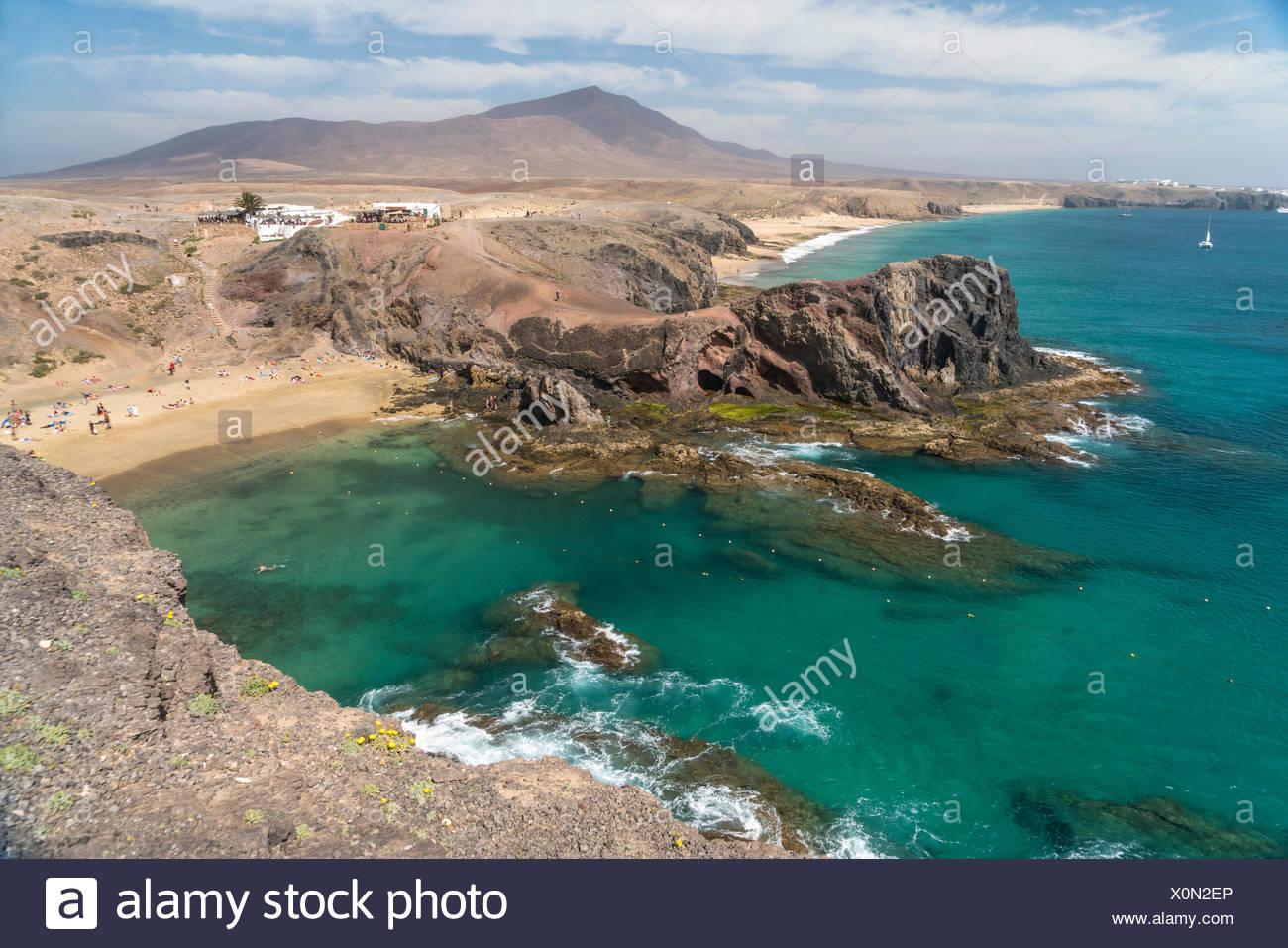 Playas de Papagayo bei Playa Blanca, Insel Lanzarote, Kanarische Inseln, Spanien |  Playas de Papagayo near  Playa Blanca, Lanzarote, Canary Islands,  Stock Photo