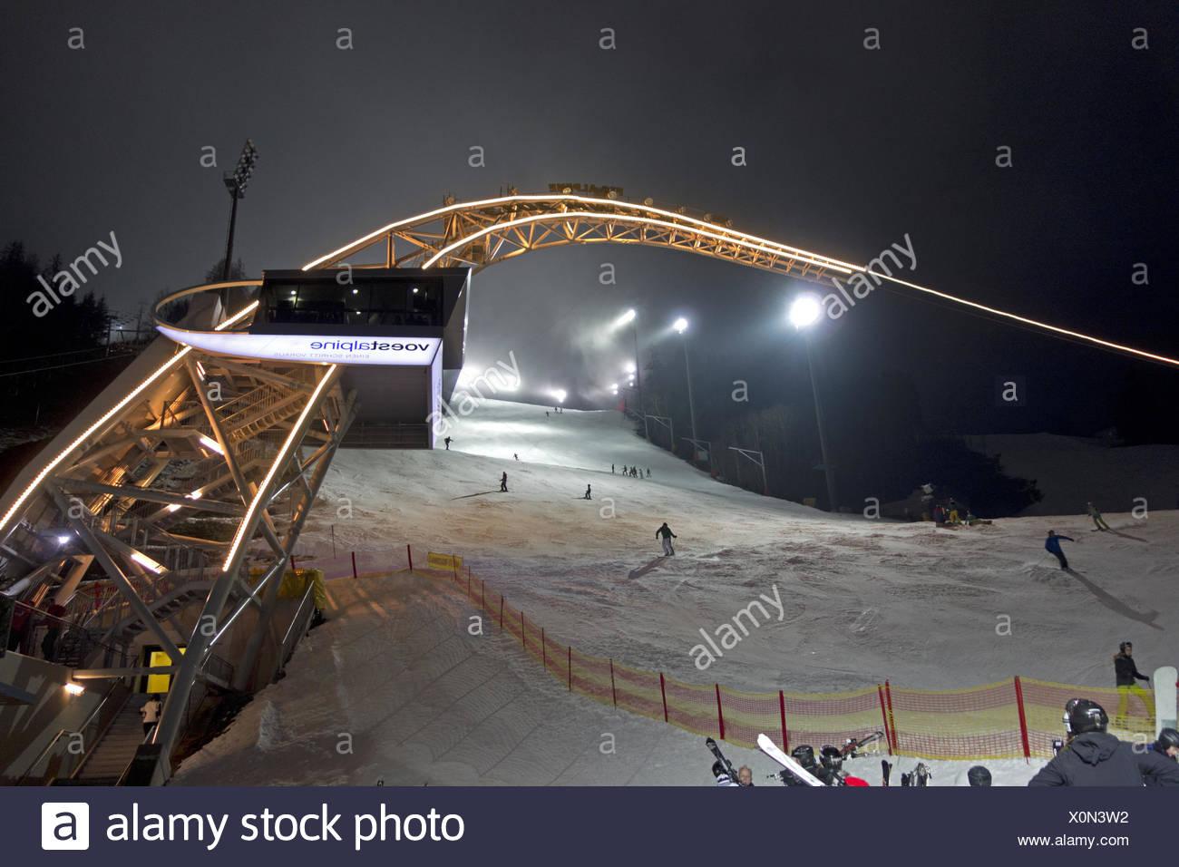 Skiing at Planai - Stock Image