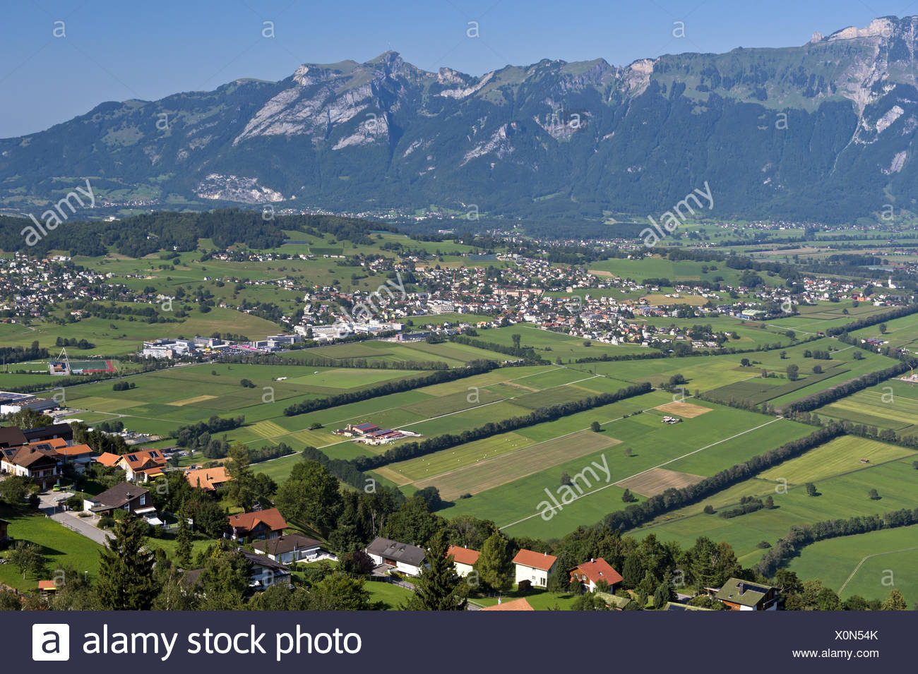 View from Planken across the Rhine valley,Liechte - Stock Image