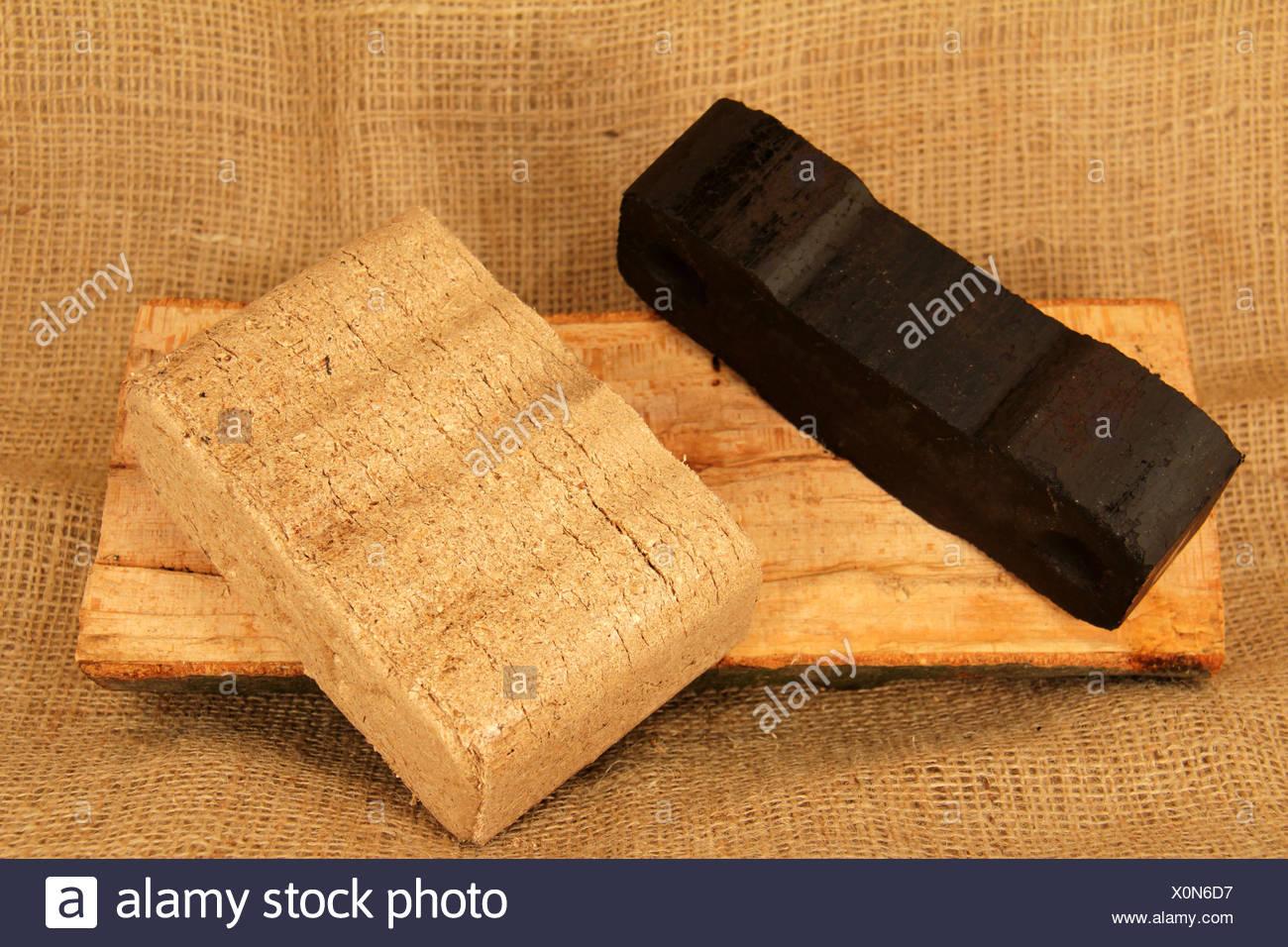 fuel,briquette,coal briquette,wood briquette - Stock Image