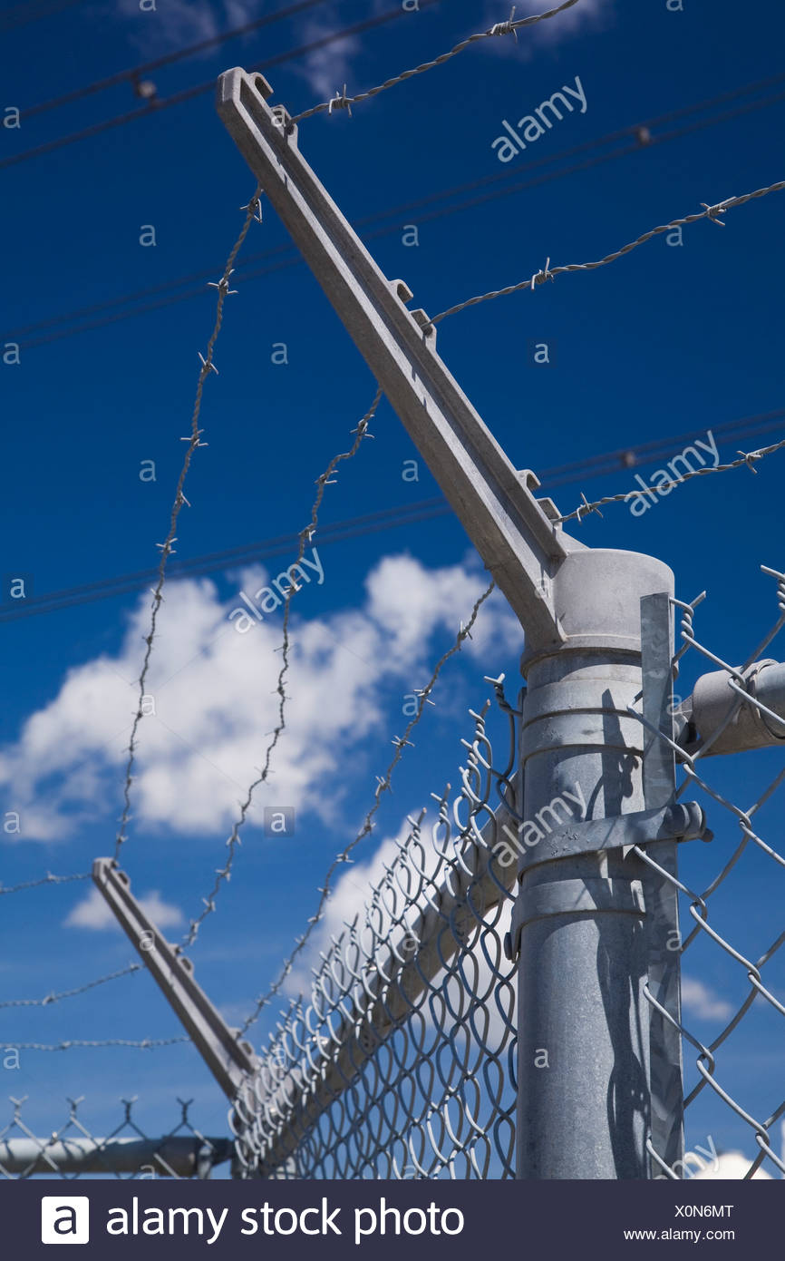 Barbwire Security Fence, Montreal, Quebec, Canada Stock Photo