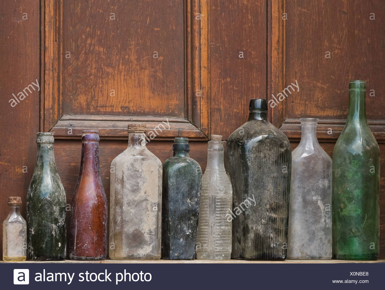 Old Glass Bottles Part - 16: Old Glass Bottles In A Row