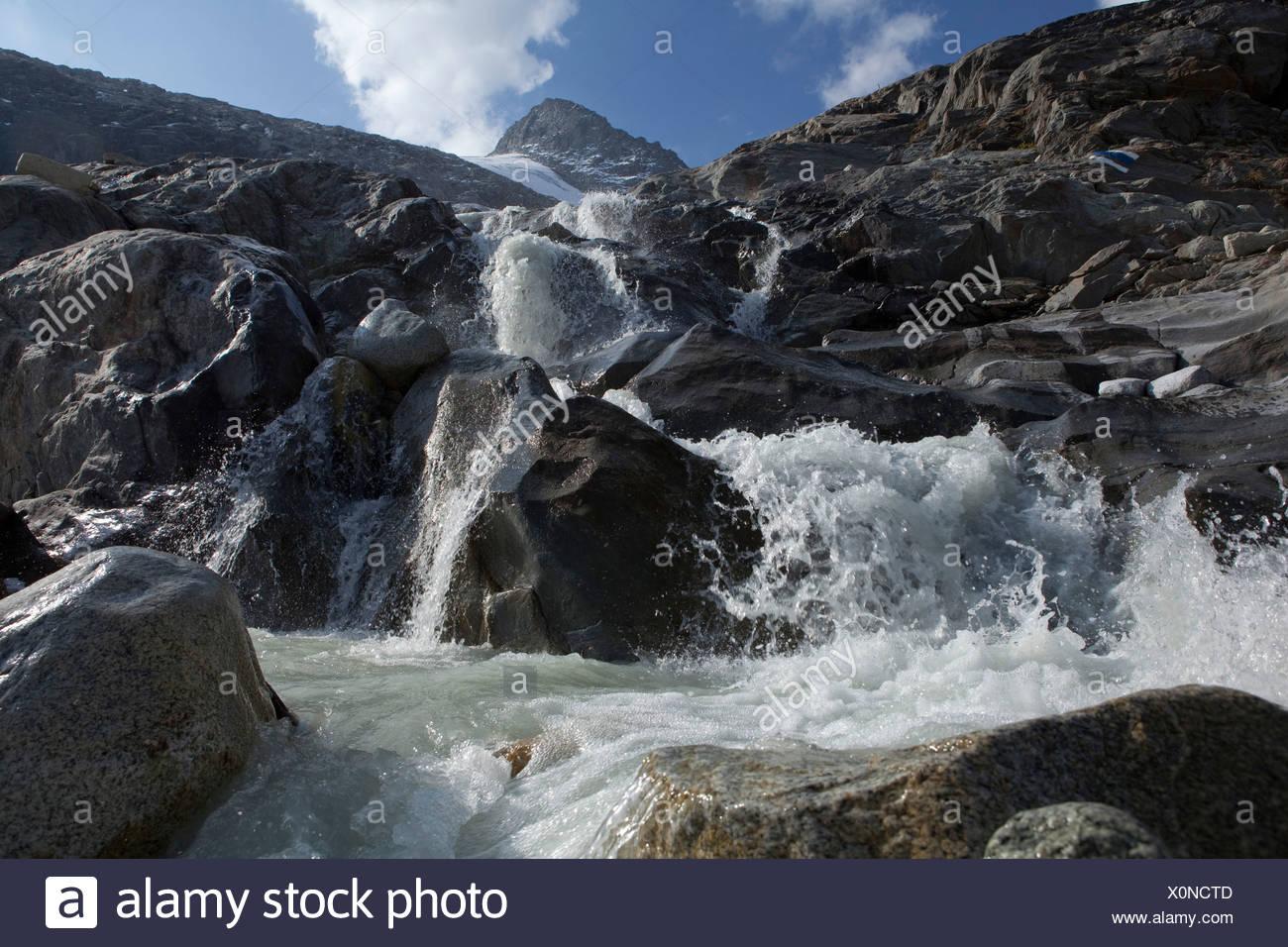 Waterfall, pit glacier, Hienderstock, Urbachtal, mountain, mountains, canton, Bern, Gauli, Gauligebiet, Gauligletscher, waterfal - Stock Image