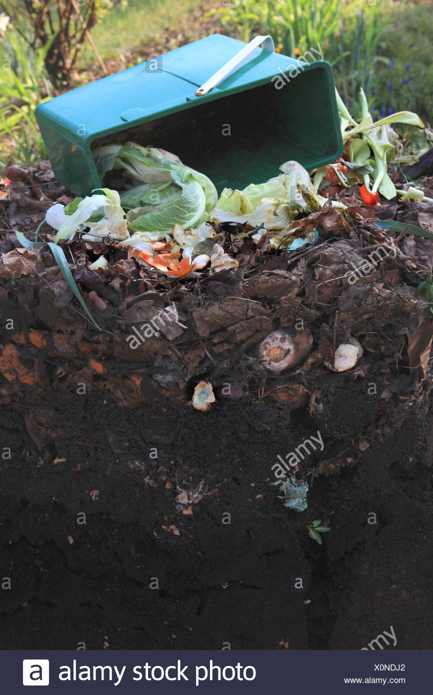 compost heap in the garden Stock Photo