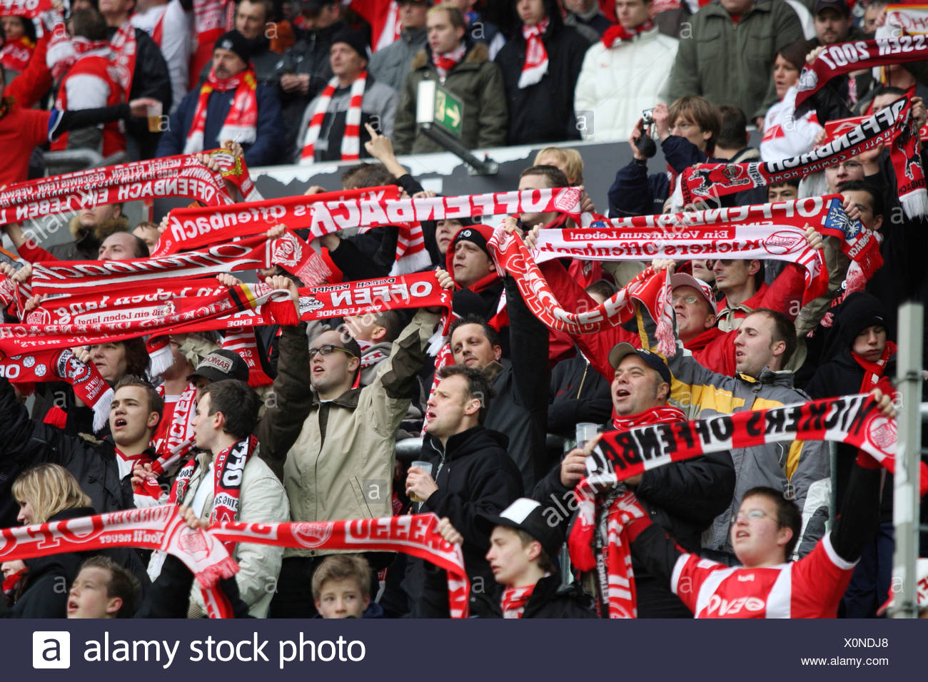 Soccer, 2. Bundesliga, second German football league, 1.FC Kaiserslautern, Kickers Offenbach, Offenbacher Kickers fans, support - Stock Image