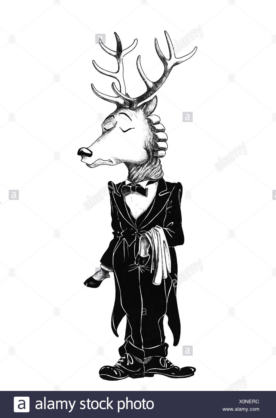 Deer with antlers in tailcoat with bow-tie - Stock Image