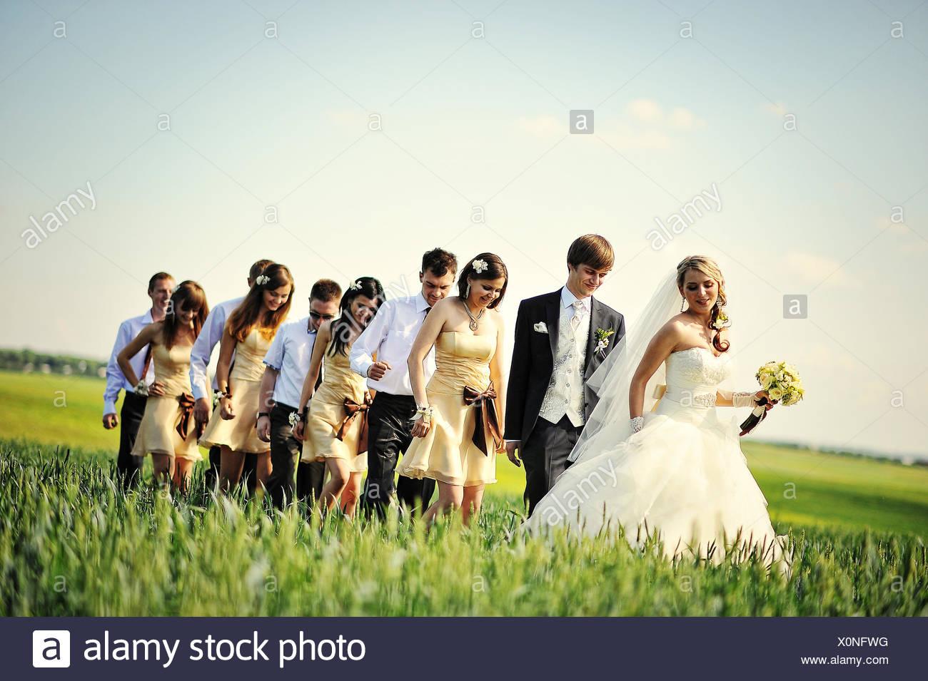 wedding couple , groomsman and  bridesmaid Stock Photo