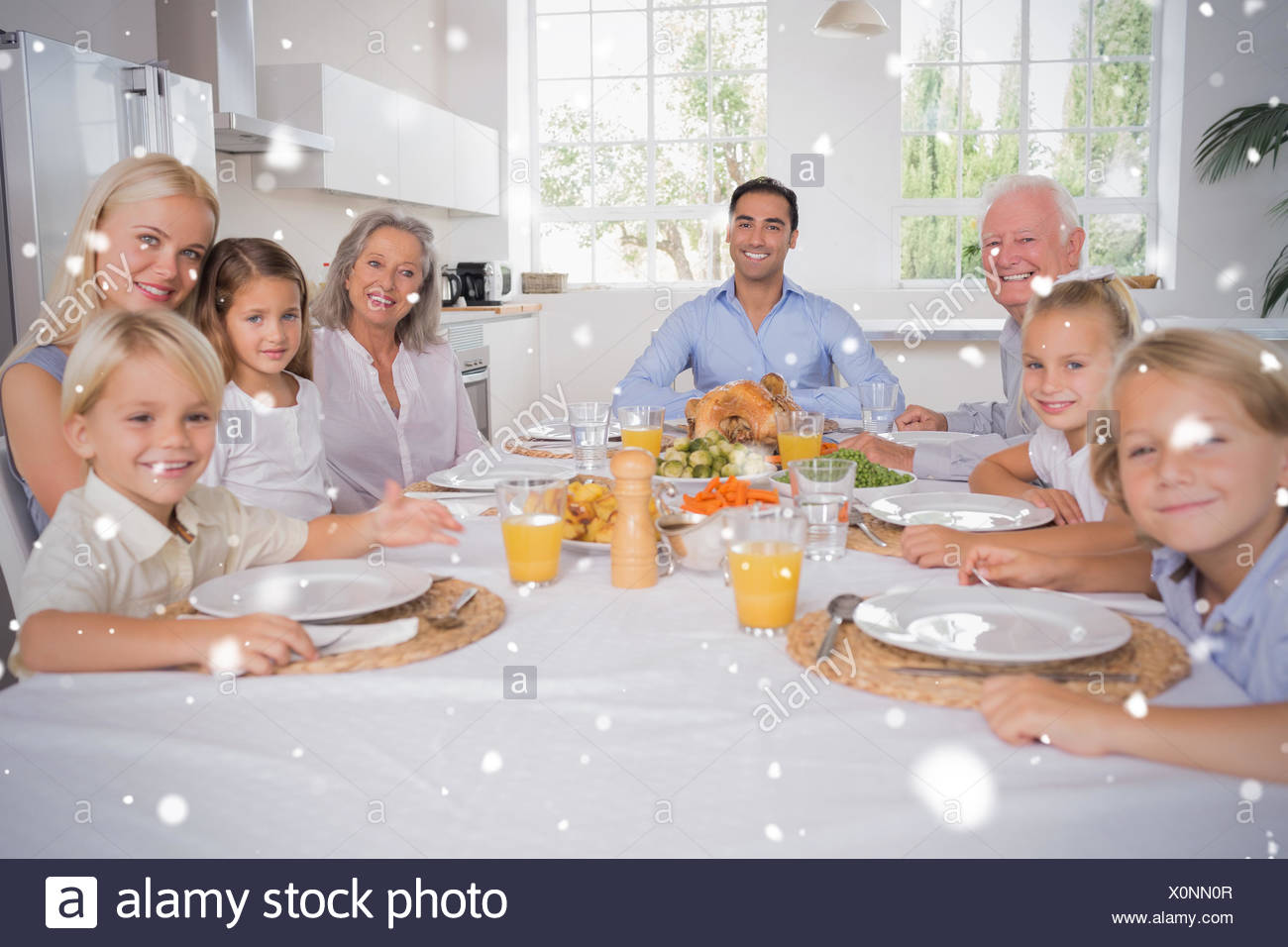 Composite image of family celebrating thanksgiving - Stock Image