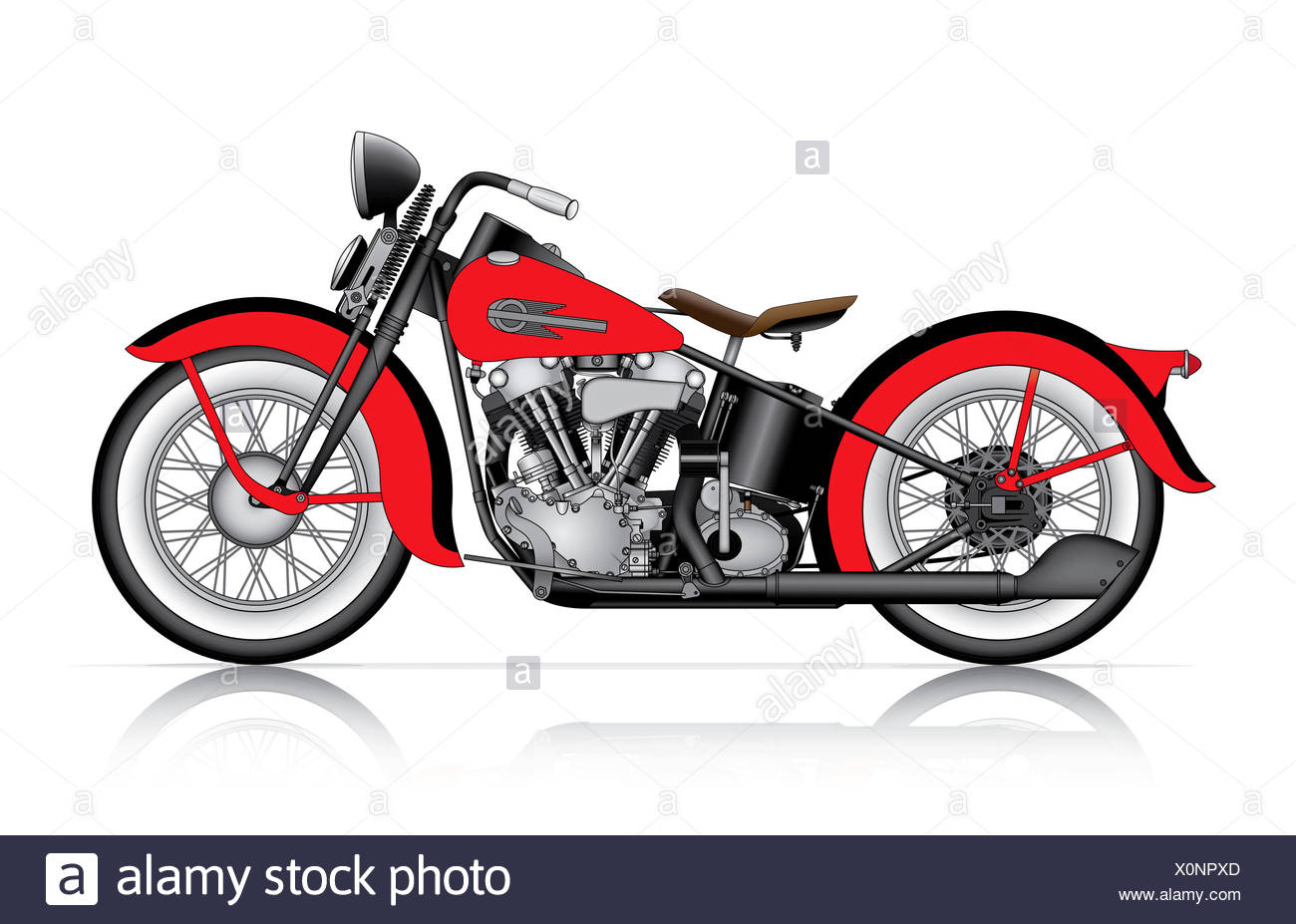 red classic motorcycle stock image