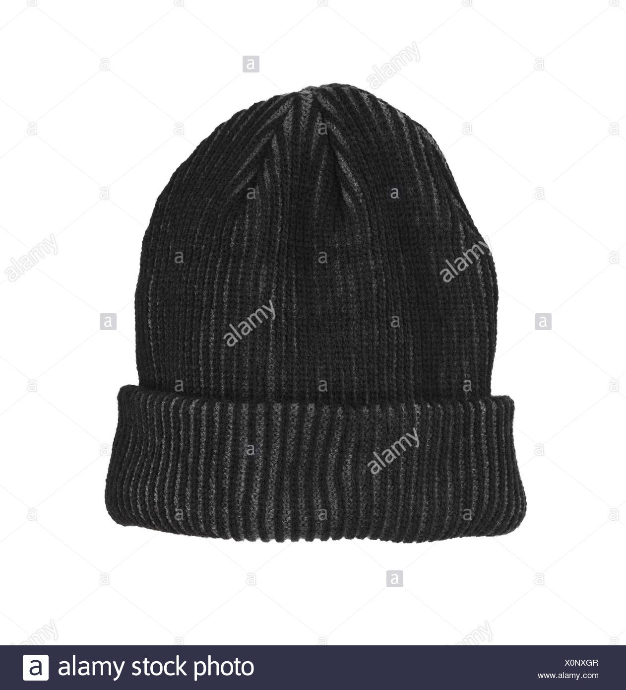 Knitted wool hat - Stock Image