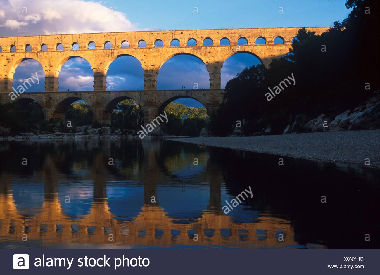 Mrz 92, Pont du Gard bei Avignon Provence, Frankreich - Stock Image