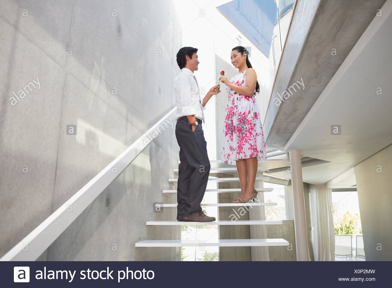 Man offering a red rose to girlfriend - Stock Image