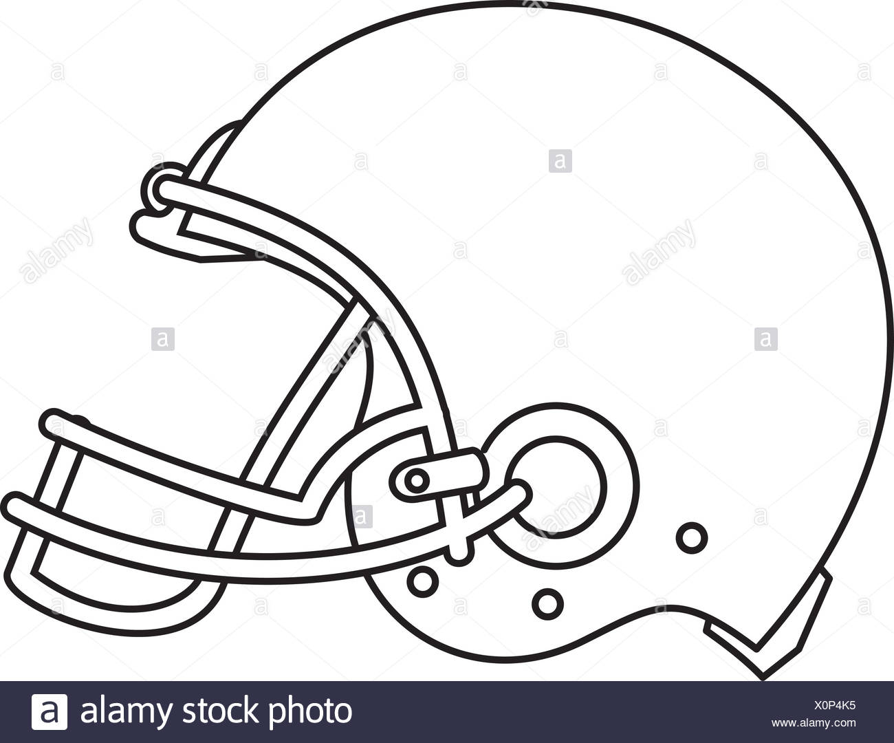 American Football Helmet Line Drawing Stock Photo 275852505 Alamy