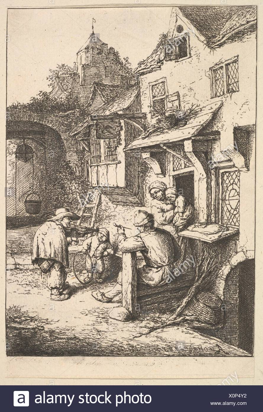 The Humpbacked Violinist. Artist: Adriaen van Ostade (Dutch, Haarlem 1610-1685 Haarlem); Date: 1610-85; Medium: Etching; Dimensions: Sheet: 6 5/16 x - Stock Image