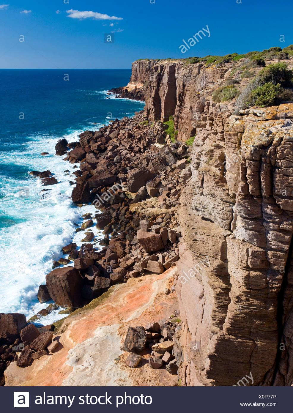 Rock formations along the Western Coast of the island Isola di Sant' Antioco, Sardinia, Italy, Europe Stock Photo