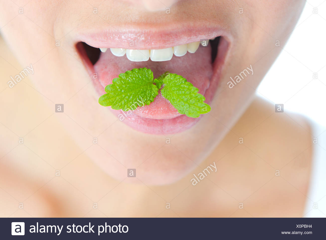 Mint on Tongue - Stock Image
