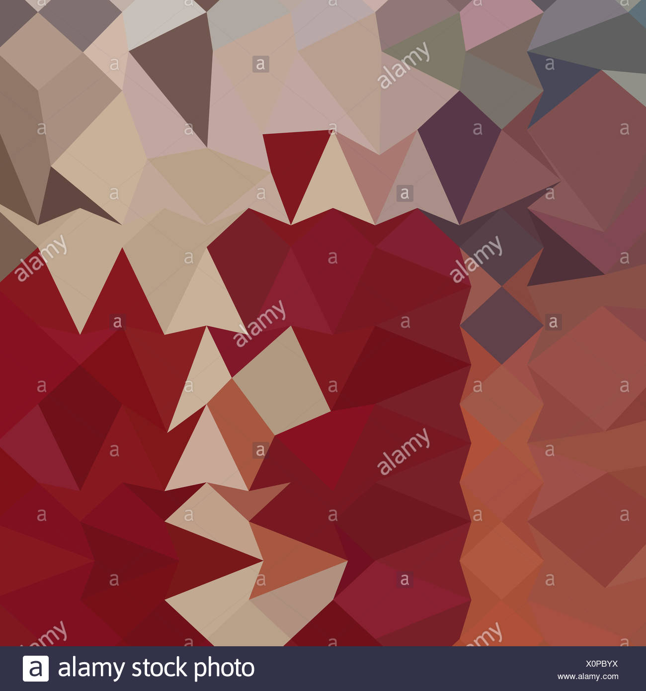 Antique Ruby Abstract Low Polygon Background - Stock Image