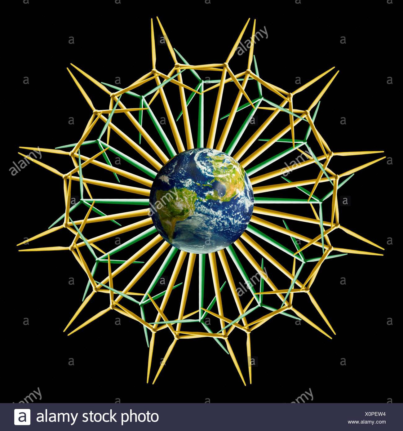 Earth Windtower Mandala, Flower Version - Stock Image