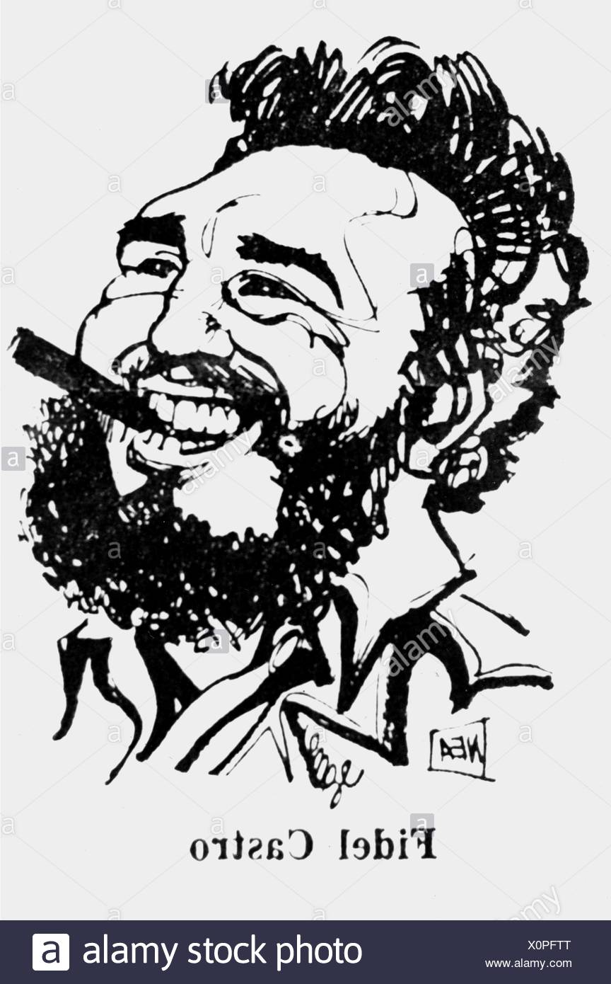 Castro Ruz, Fidel, * 13.8.1927, Cuban politician, head of state since 1959, portrait, caricature, 1970s, Additional-Rights-Clearances-NA - Stock Image