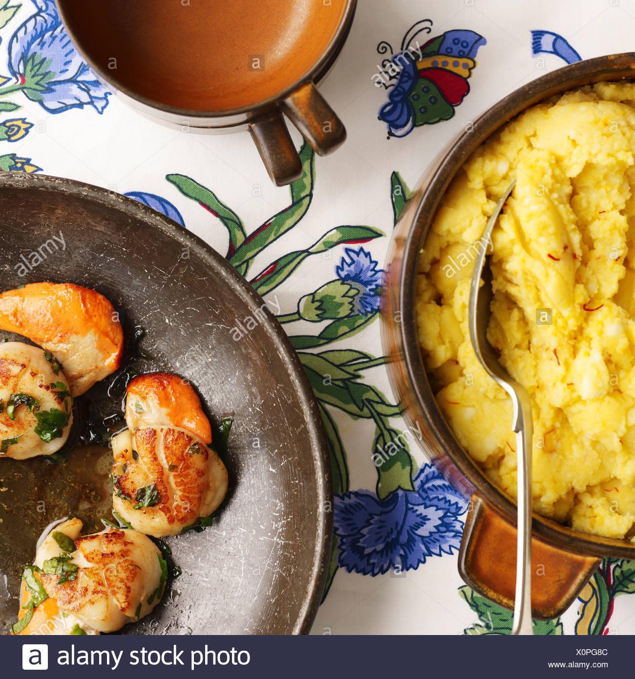 Saffron mash and shrimp - Stock Image