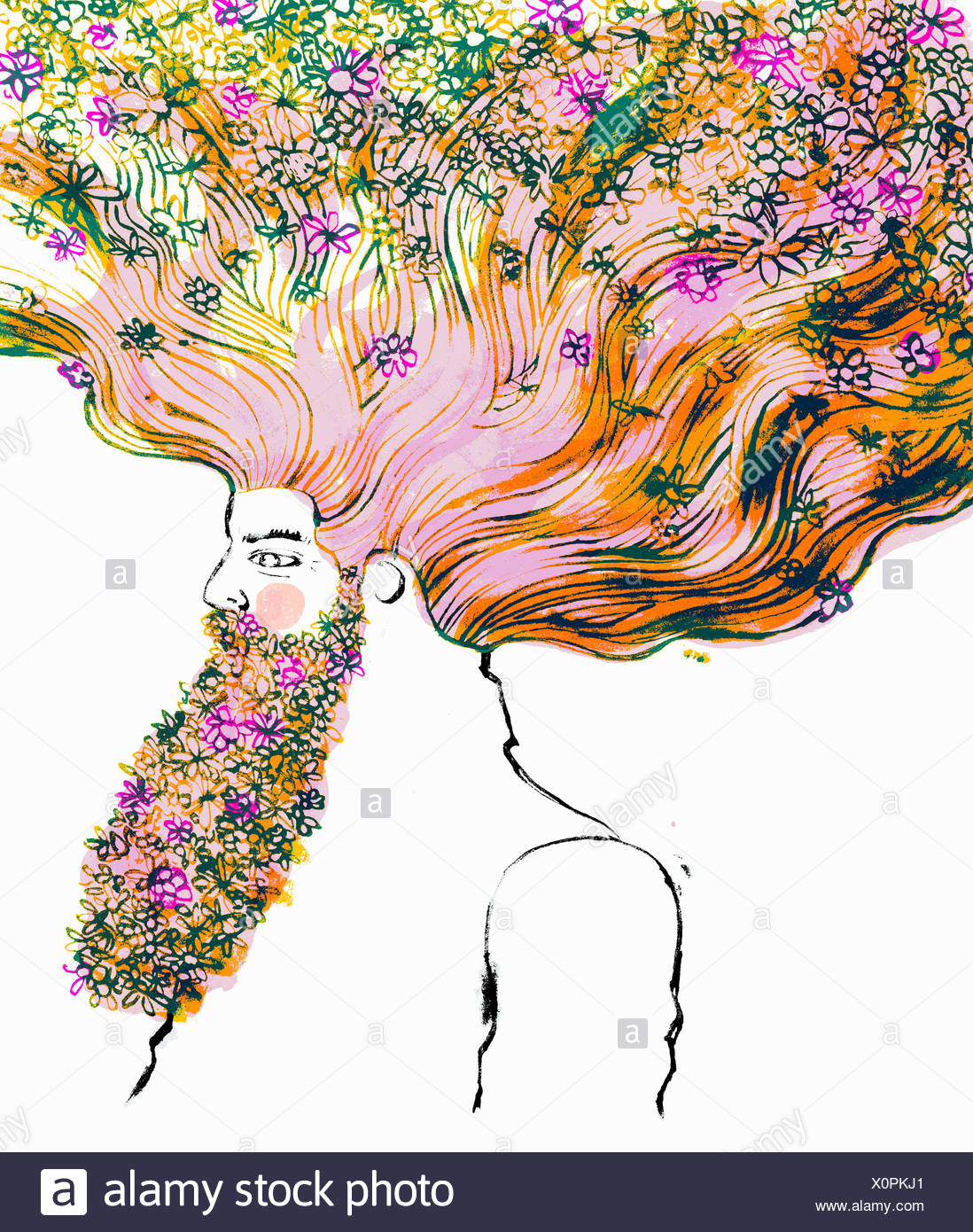 Man with flowing red hair and beard full of flowers - Stock Image