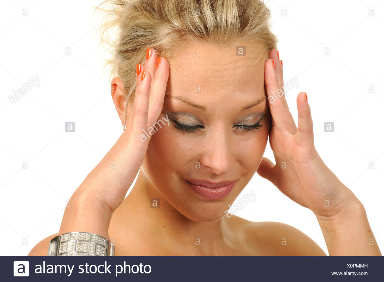Young woman, unable to cope, stressed out, irritated, headache, portrait - Stock Image
