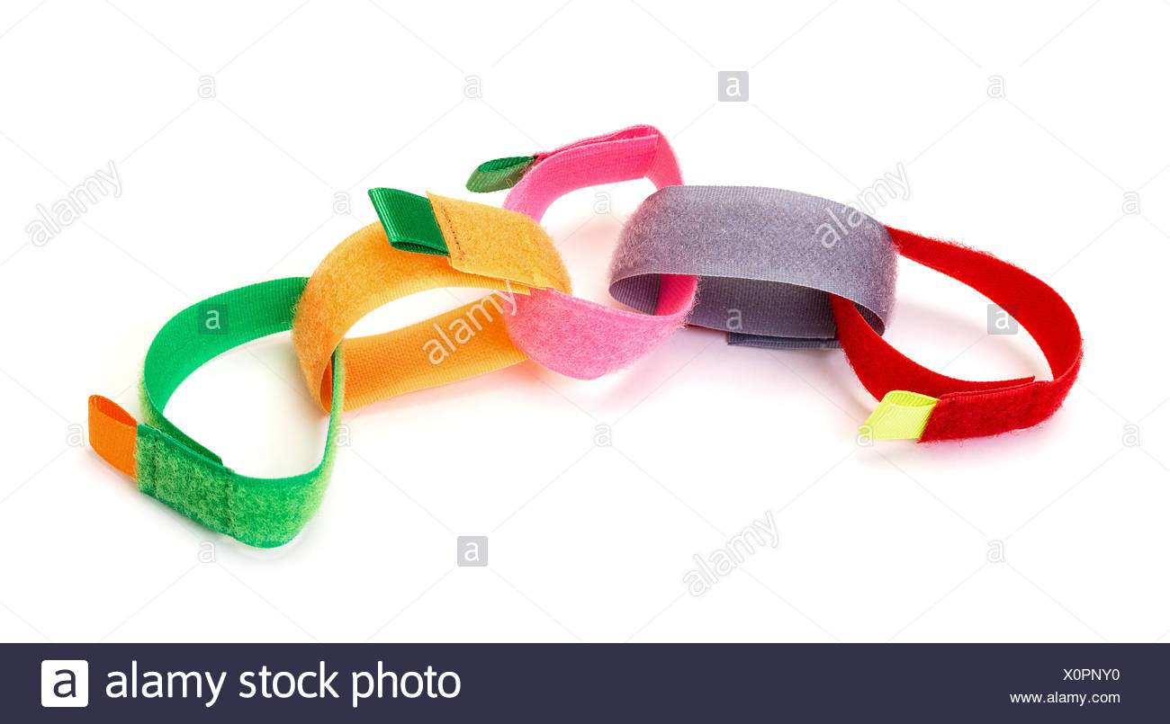 Chain from Colorful Velcro Strips - Stock Image