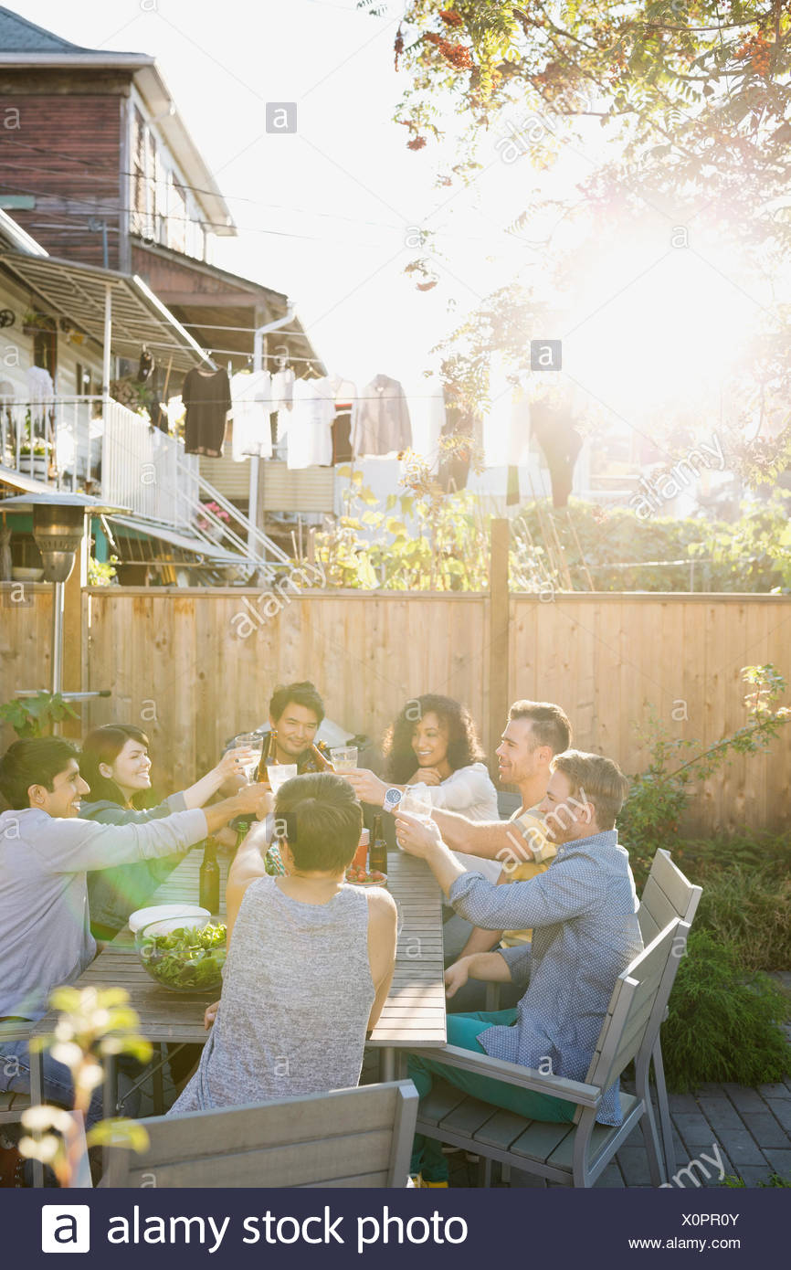 Friends toasting at backyard barbecue - Stock Image
