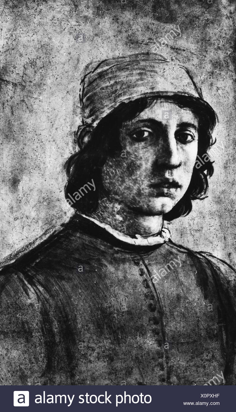 Lippi, Fra Filippo, 1406 - 9.10.1469, Italian artist (painter), portrait, self-portrait, 15th century, Florence, Uffizi, Italy, , Additional-Rights-Clearances-NA - Stock Image