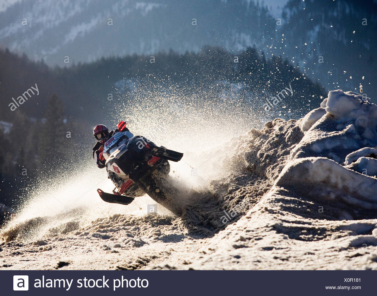 Snow mobile or ski-doo rider jumping into a curve, Achenkirch, Achensee Lake or Lake Achen, North Tyrol, Austria - Stock Image
