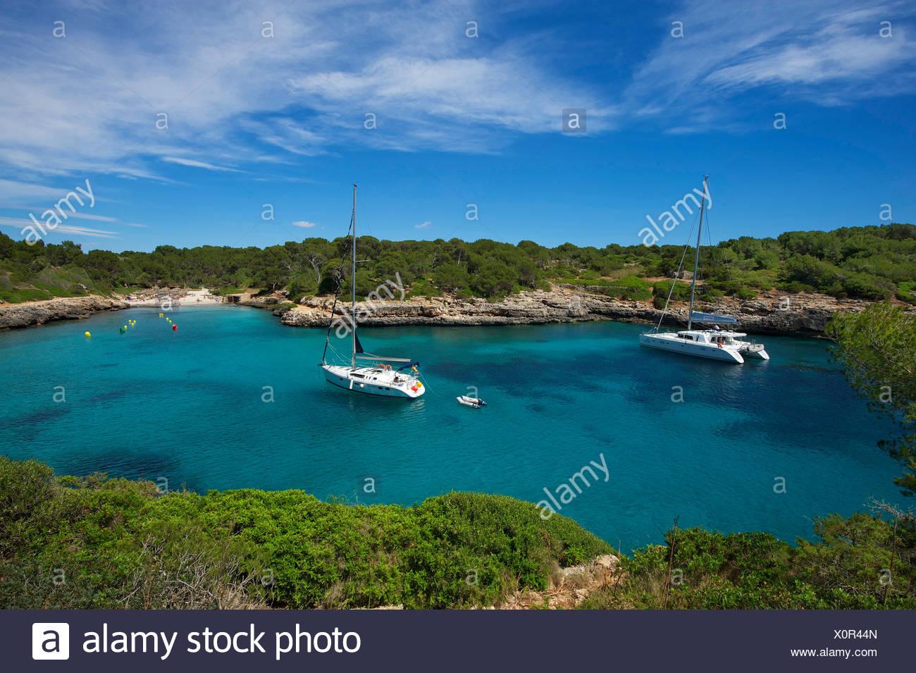 Balearic Islands, Majorca, Mallorca, Spain, Europe, outside, Cala Sa Nau, coast, seashore, coasts, seashores, coastal scenery, c - Stock Image