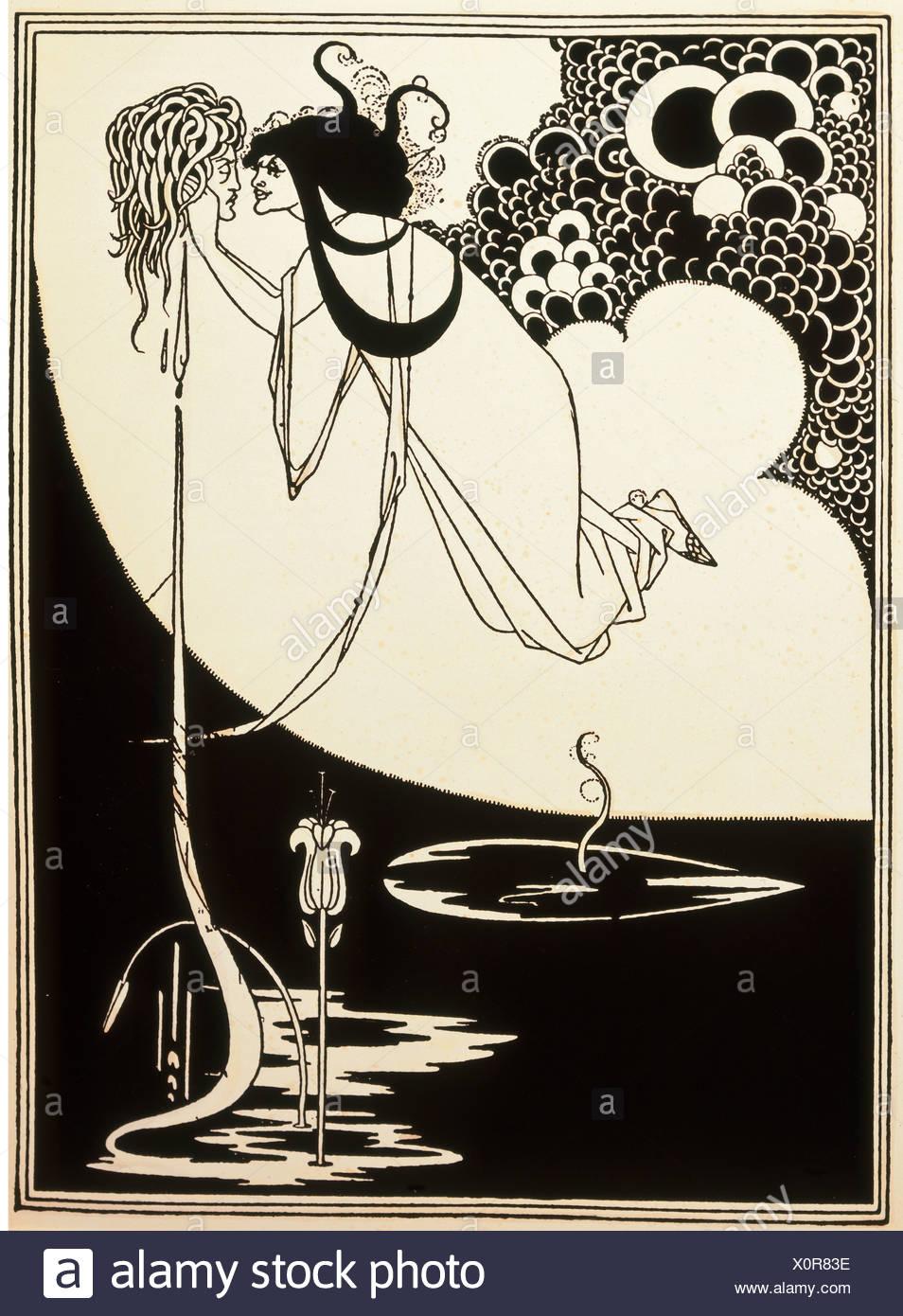 fine arts, Beardsley, Aubrey (1872 - 1898), print, 'Die Apotheose', illustration for the play 'Salome' by Oscar Wilde, England, - Stock Image