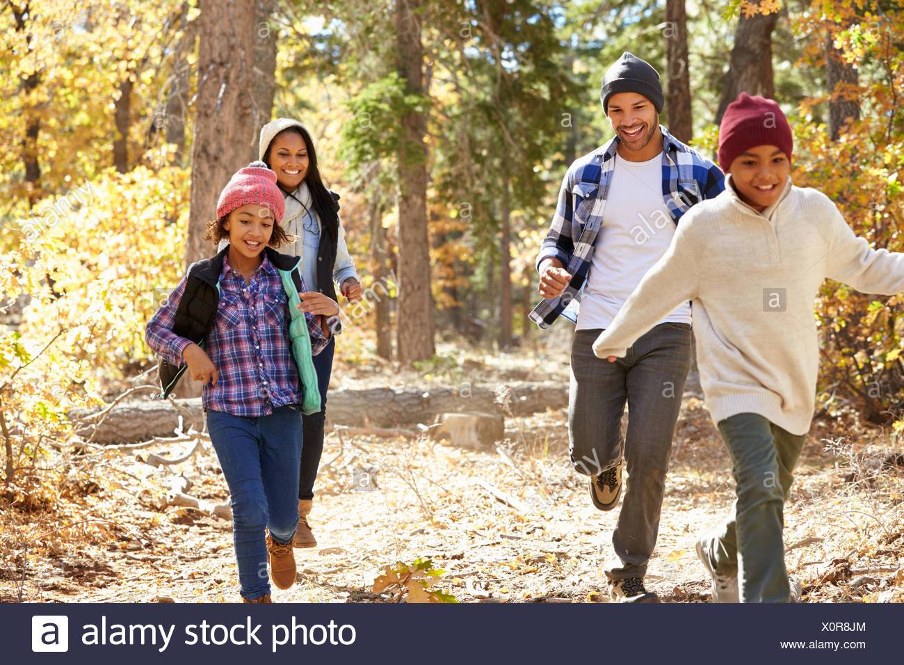 African American Family Walking