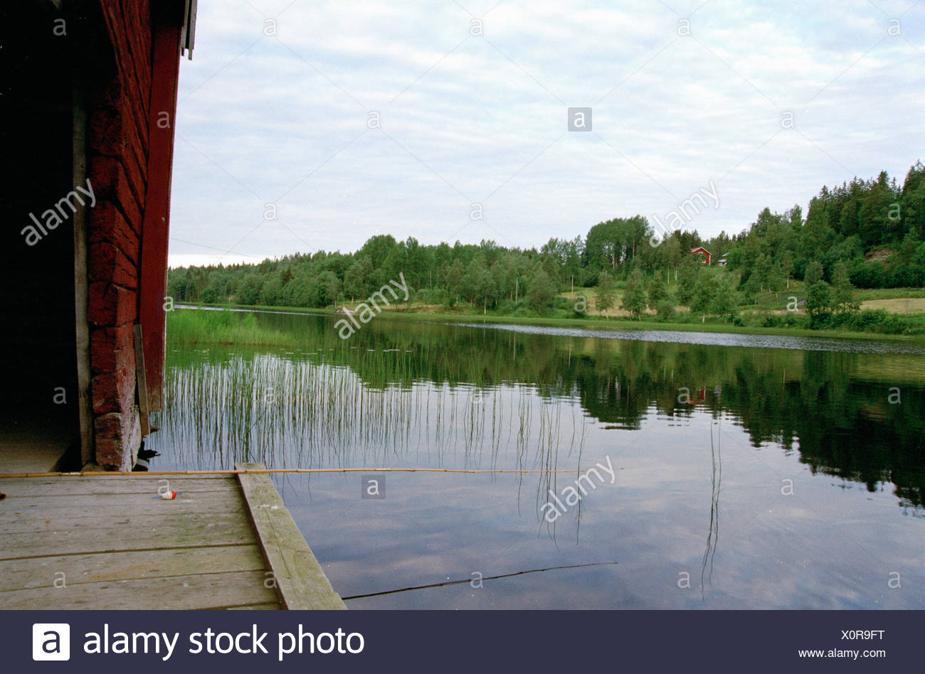 Fishing-rod on a jetty, Sweden. - Stock Image