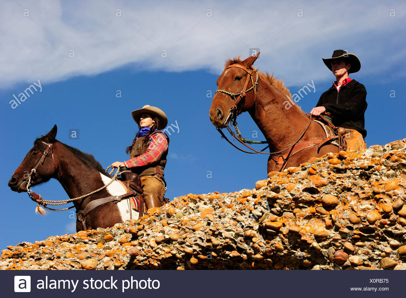 Cowboy and cowgirl on horses looking into the distance, Saskatchewan, Canada, North America - Stock Image