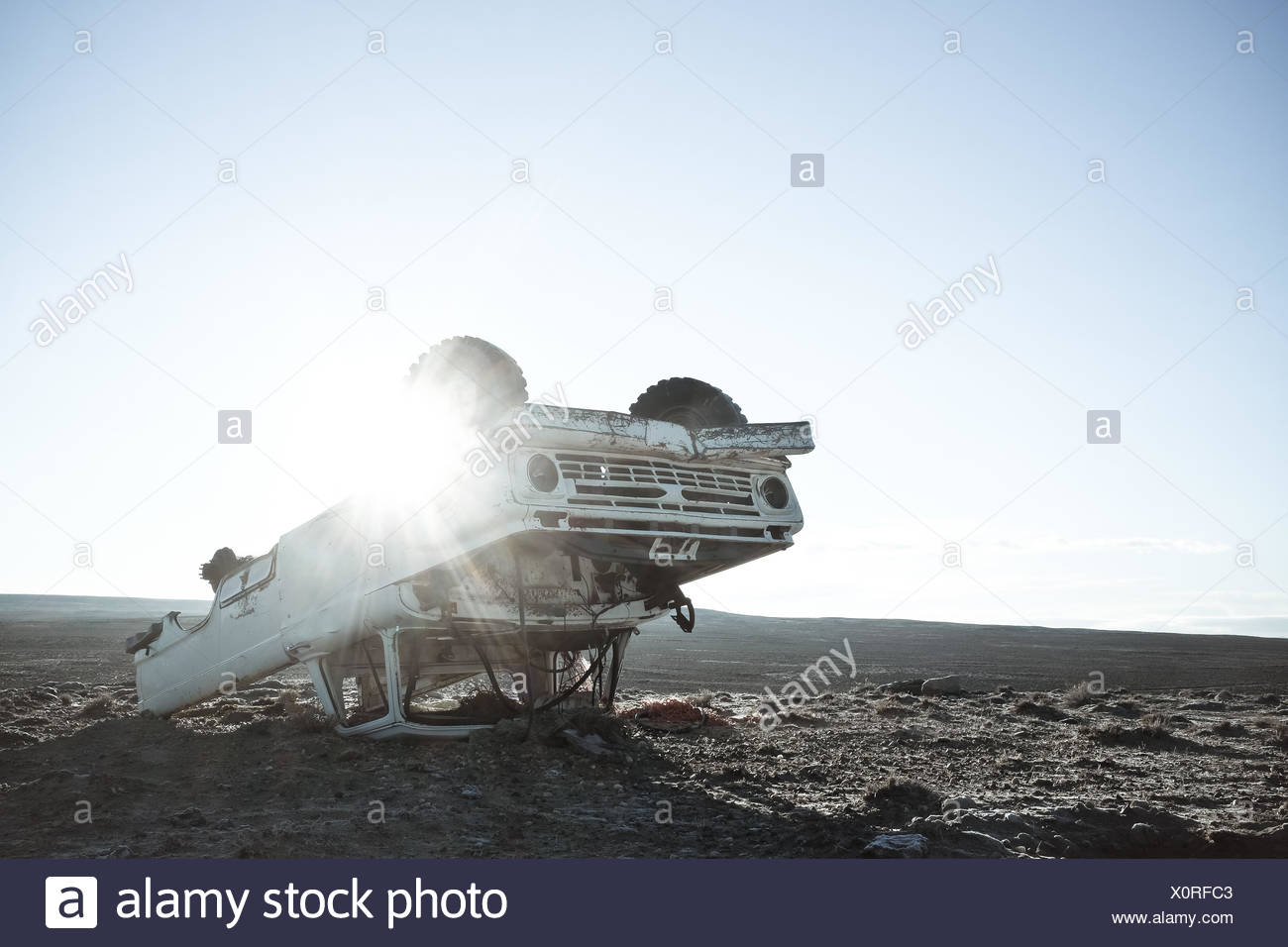 USA, Wyoming, View of abandoned truck - Stock Image