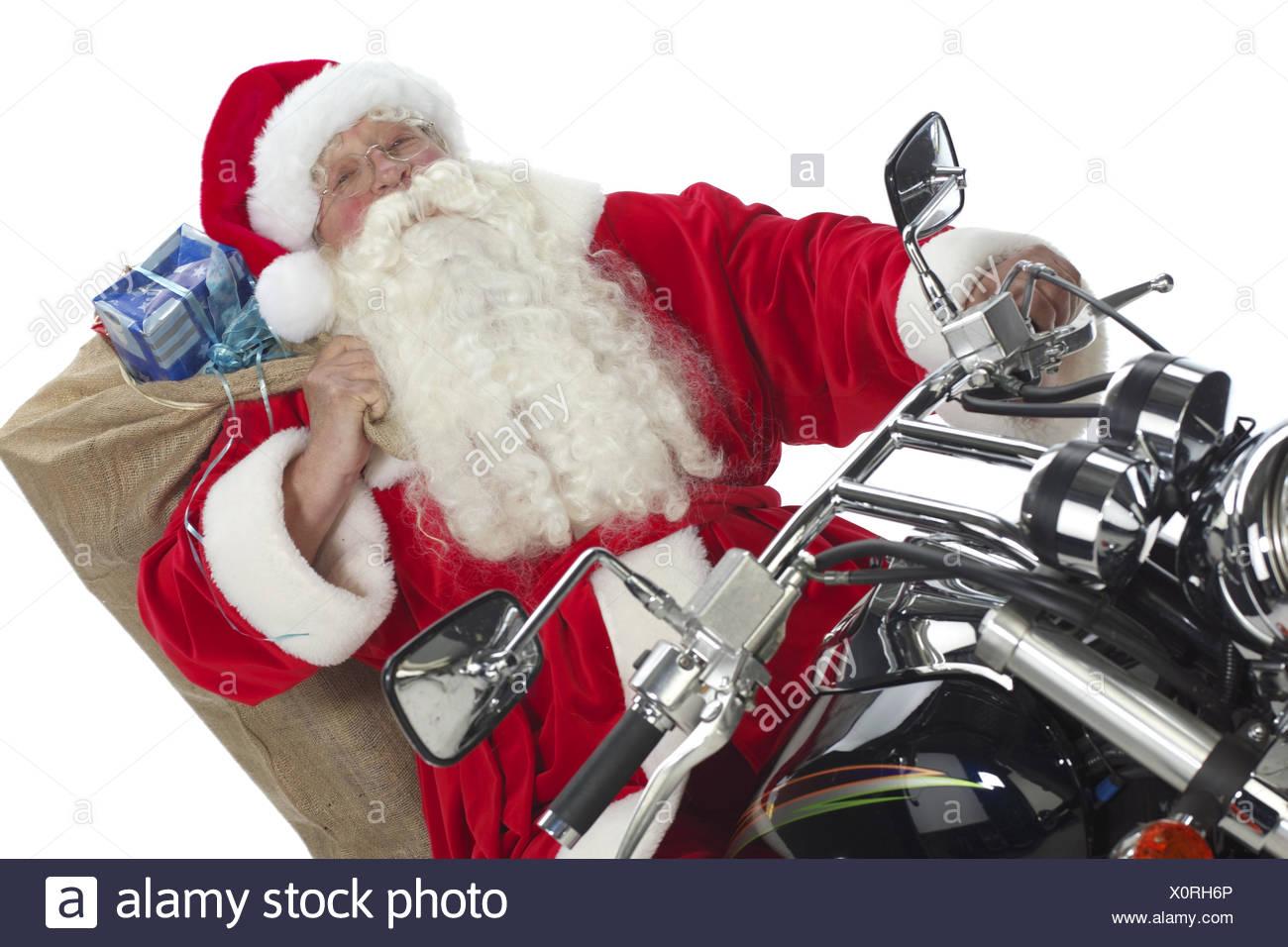 Mann Nikolaus Kostuem Nikolauskostuem Weihnachten Motorrad Fahren ...