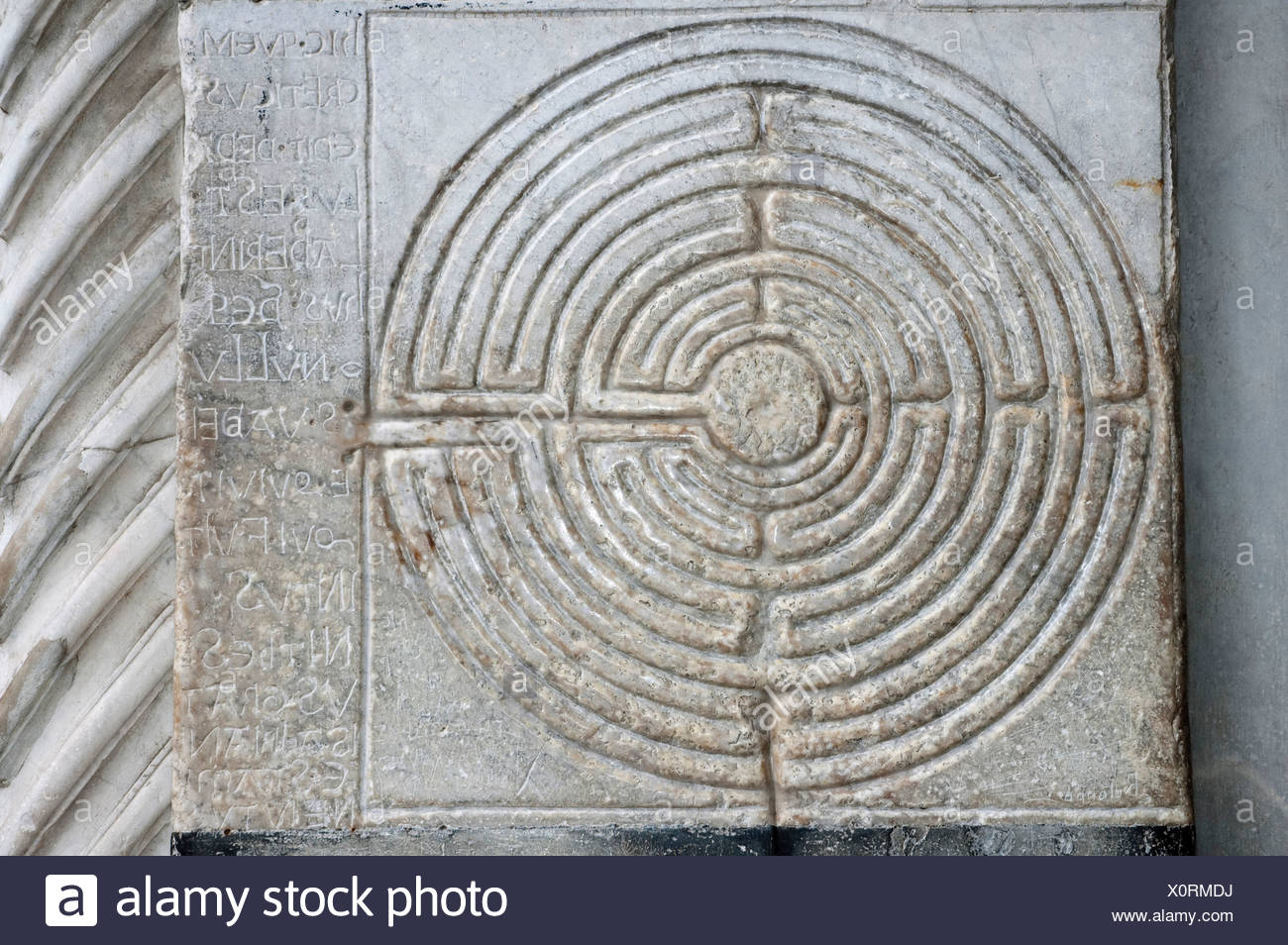 One of the oldest labyrinths, cathedral of San Martino, Lucca, Tuscany, Italy, Europe - Stock Image