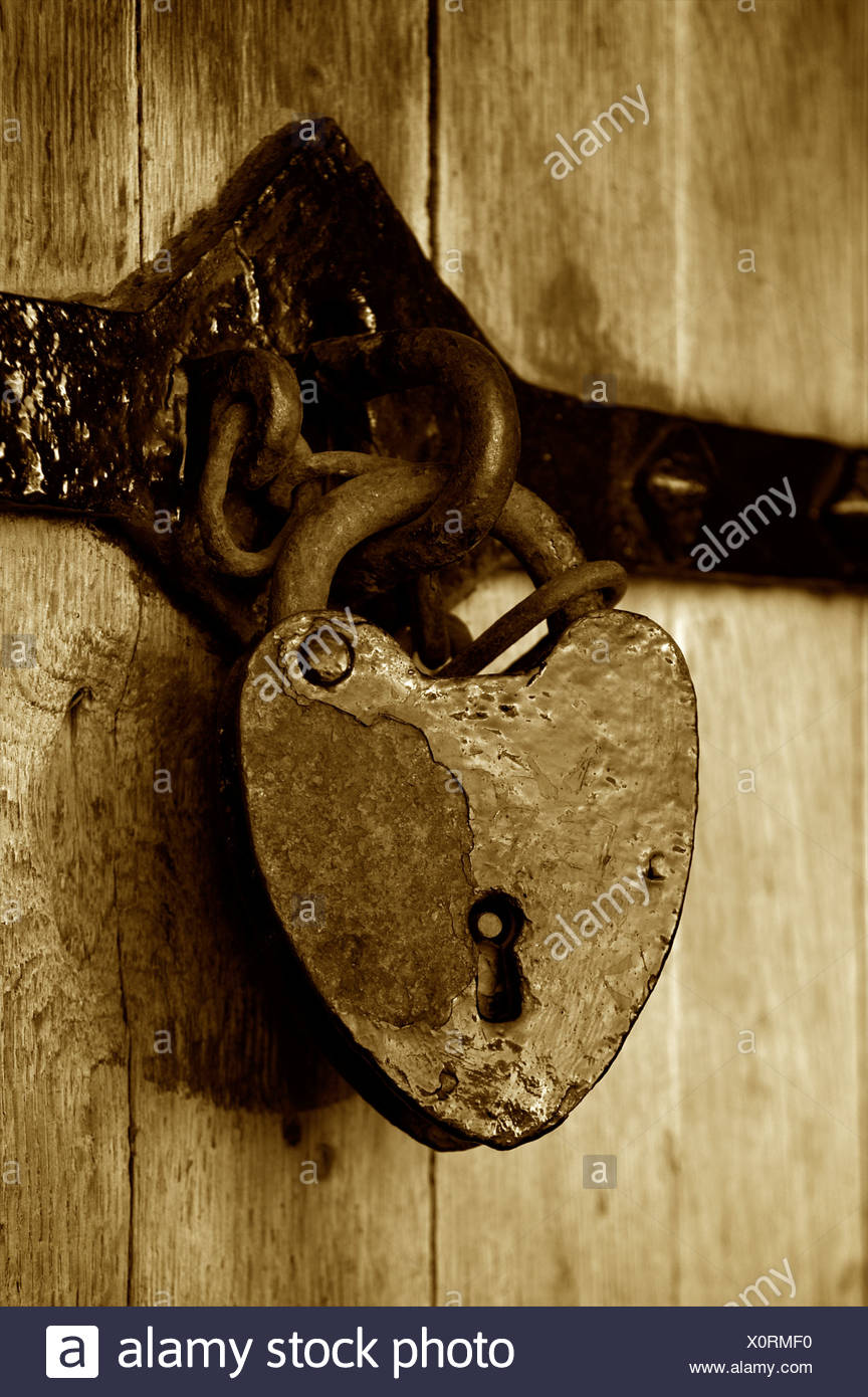 An old metal lock on a door at Caernarfon Castle. Stock Photo