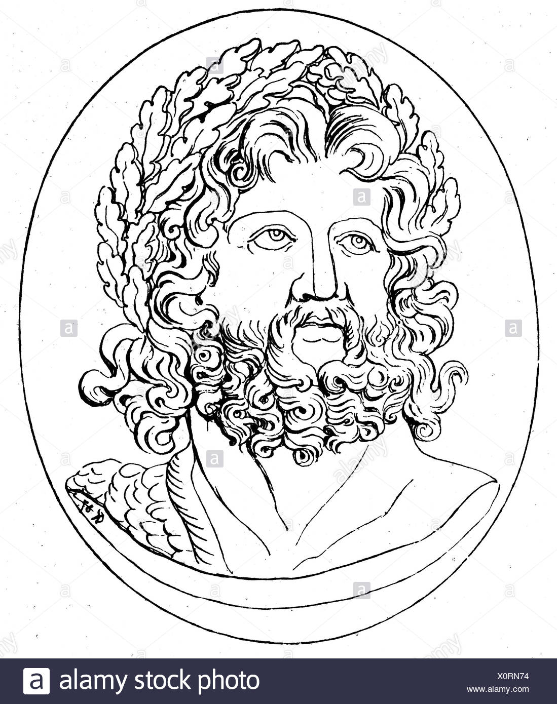 Zeus (Latin: Jupiter), Greek 'divine king', leader of gods, god of sky and thunder, portrait, head with oak wreath, wood engraving, 19th century, after cameo of Emperor Julian, Ephesos, Additional-Rights-Clearances-NA - Stock Image