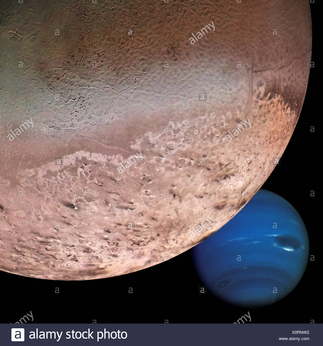 Neptune and Triton (Digital Composite from Voyager 2 Stock