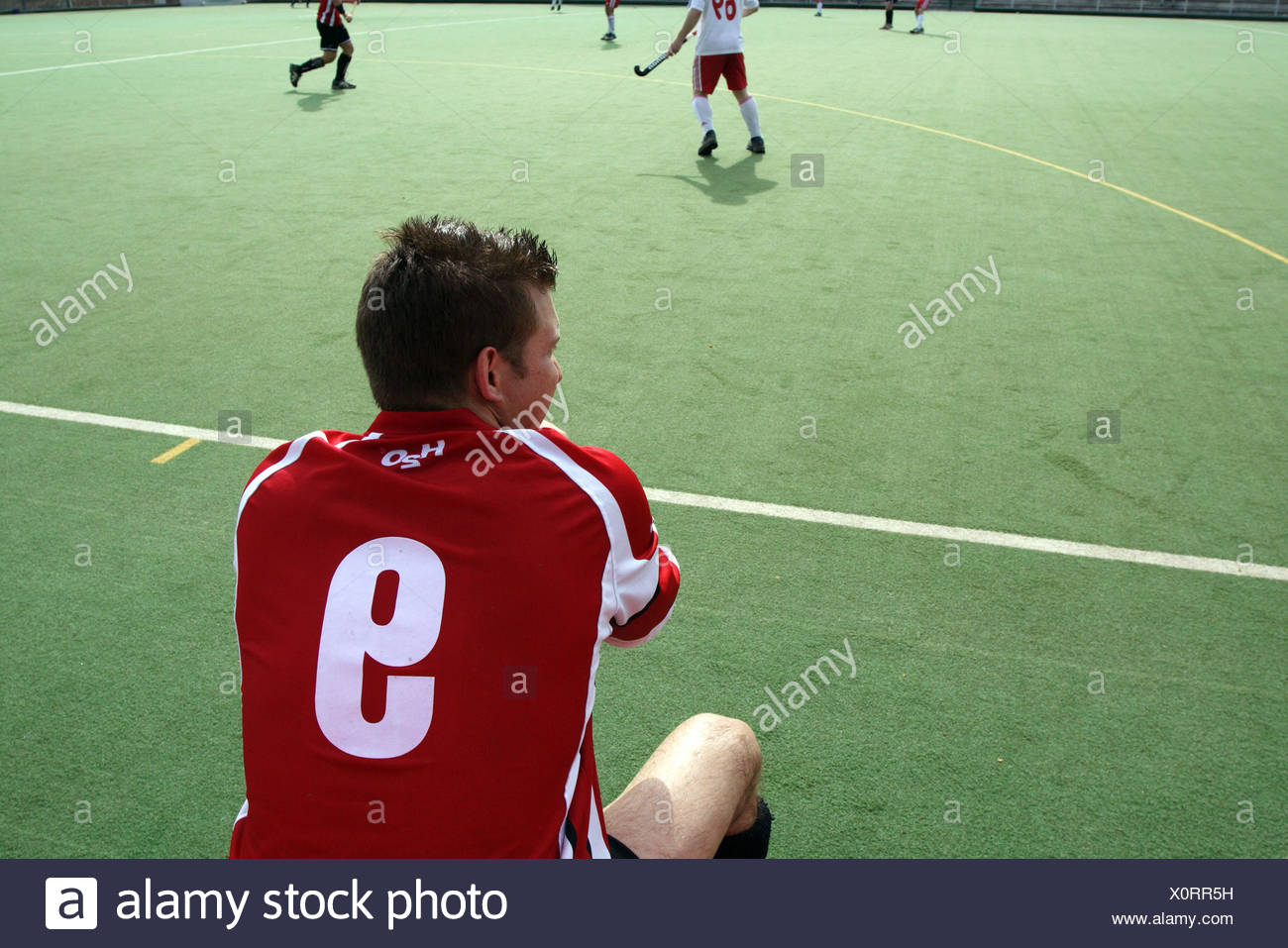 Ruesselsheim Hockey Player On The Bench Stock Photo