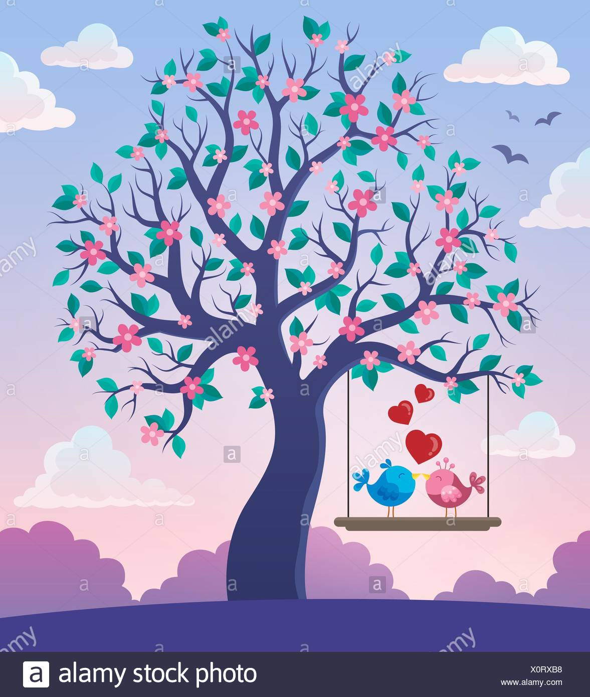 Tree with Valentine birds theme 2 - Stock Image